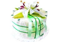 Jednopatrový textilní dort - Bílá lilie